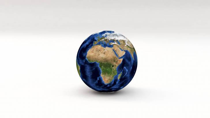 globe showing africa