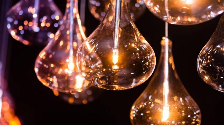 display of light bulbs