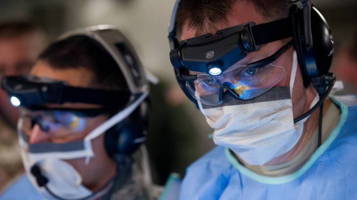 medical doctors with protective masks