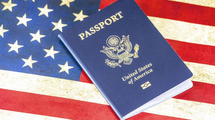 passport and the american flag