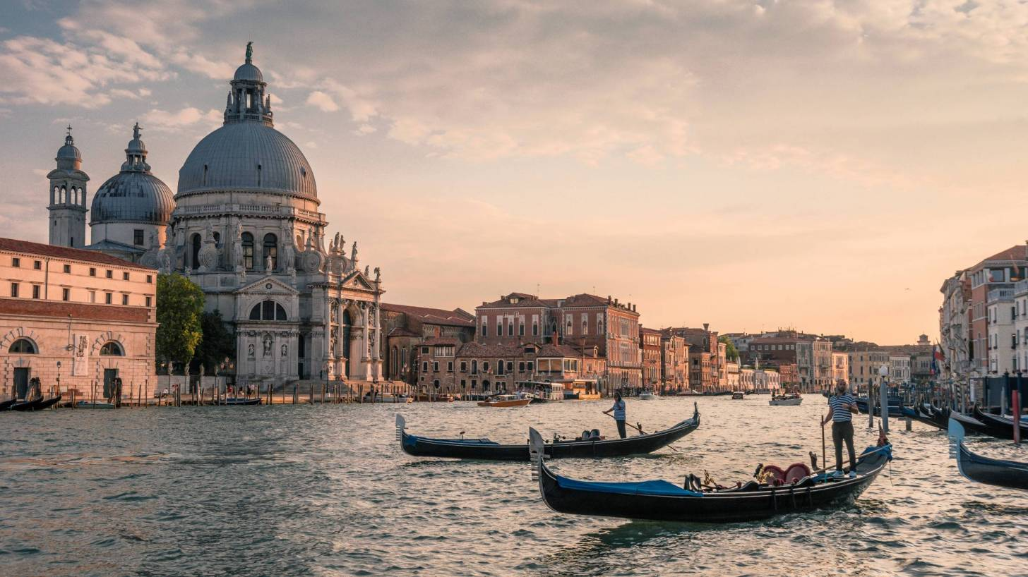 Venice water channels with gondolas