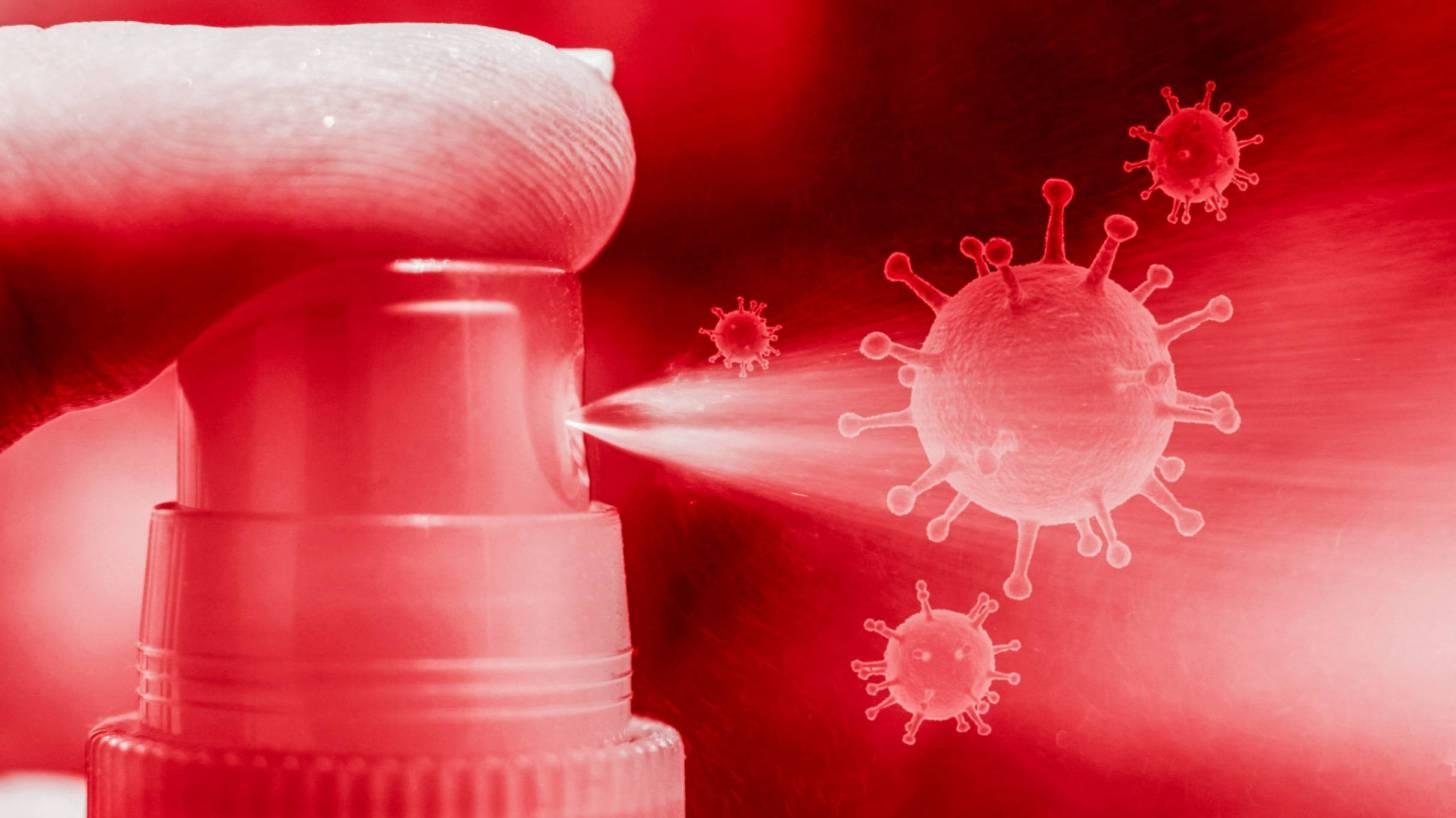 showing a spray bottle and coronavirus