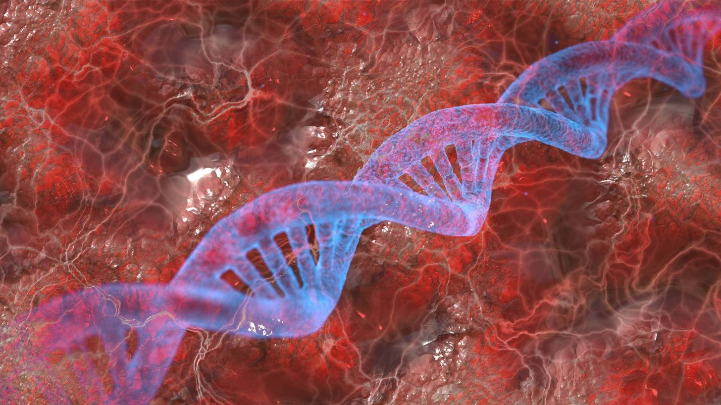 dna with blood background