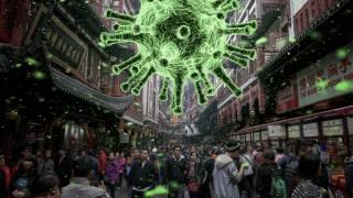 coronovirus symbol above crowded market