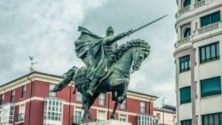 blue knight statue