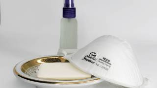 n95 surgical mask by soap and a hand sanitizer