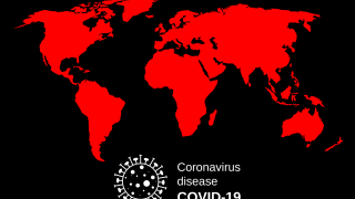 world map in red with covid-19