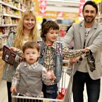 family shopping in food store