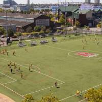 rutgers soccer feild with teams playing