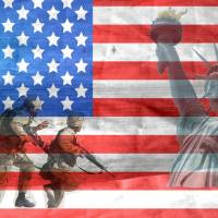 american flag with us soldiers in the background as well as the statue of liberty