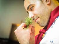 Chef smelling fresh herbs