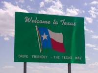 welcome sign to Texas